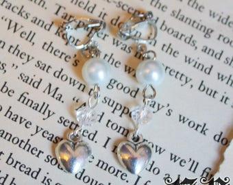 Silver Heart Pearl Clip On Earrings