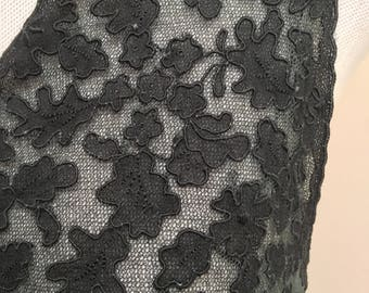 1940s Black Bias Cut Lace Negligee sz. S