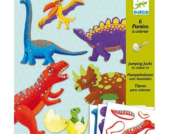 Kit to create 6 puppets dinosaurs djeco articulated puppets
