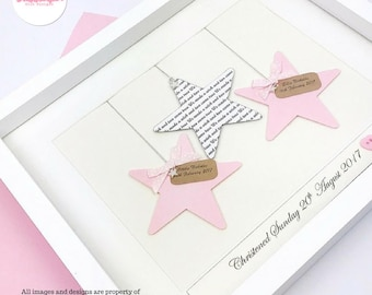 Twin gift Triplet gift star design New baby girls New Baby boys Identical triplets Identical twins unique gift