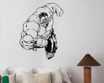 Hulk Wall Decal Removable Avengers Superhero Vinyl Sticker Marvel Comics Art Decorations for Home Kids Room Bedroom Comic Book Decor hlk1