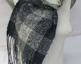 Hand Woven Scarf - Marine Style Scarf - Unique Navy Blue and White Scarf with Fringe - Long Shawl - Handmade scarf