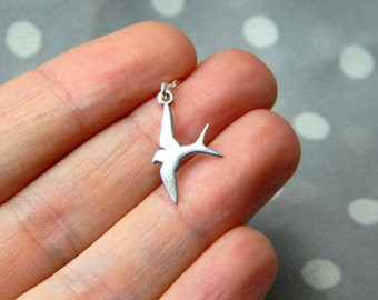 Swallow bird necklace, silver swallow, bird necklace, silver small swallow bird, spring carrier necklace, sterling silver gift 170