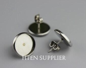 50pcs STAINLESS Steel Stud Earring Settings , Earring Blank Bezel 6mm 8mm 10mm 12mm 14mm 16mm