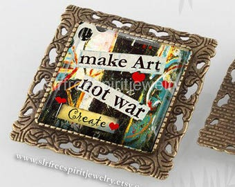 Boho Jewelry, Peace Pin or Necklace, Peace Pendant, Art, Square Pin,  Make Art Not War, Political Statement, Love and Peace,
