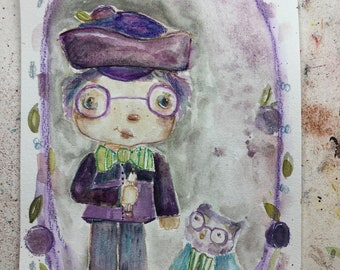 Plum Puddin et sureau hibou - 6 x 9 origine aquarelle/mixed media