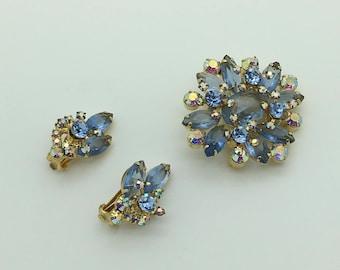 Juliana Brooch Earrings Delizza Elster Set Blue Costume Vintage Jewelry