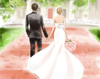 Custom Wedding Portrait - Bridal Illustration Bride Groom Engagement Couple Watercolor Sketch Painting Drawing Save the Date Illustration