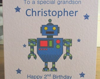 Personalised Handmade Blue Robot Birthday Card Any Relation Any Age