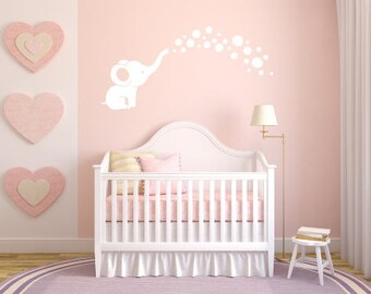 Baby Elephant Blowing Bubbles Decal - Baby Room or Nursery Decal