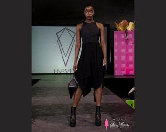 Alchemy Dress with open back leather straps details, little black dress, asymmetrical dress, frayed hem dress witchy dark black dress