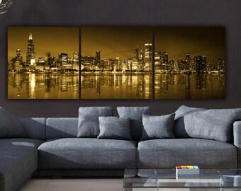 Chicago Skyline Canvas Set, Gold Chicago Large Wall art, Chicago Canvas, Chicago Art, Chicago Photo, Large Wall Art, Chicago Photo
