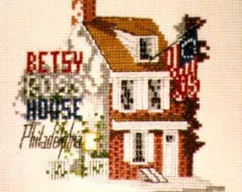 The Betsy Ross House CHART for counted cross stitch.
