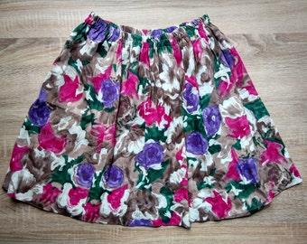 Sweet Vintage  Colorful Floral Printed High Waist Skirt