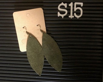 Olive Green Leaf Leather Earrings