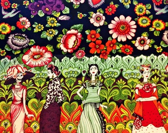Frida La Catrina Fabric   Alexander Henry Fabric   Folklorico   La Catrina - Eggplant   Dia De Los Muertos   Floral   Mexican   Skulls