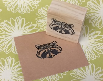Hand carved rubber stamp - raccoon design.
