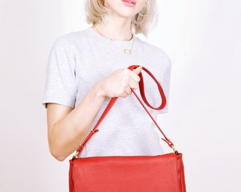 Red leather bag,redshoulder bag,red leather purse,leather Hand Bag, Clutch, Pouch, FRANCIS RED