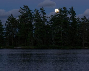 Large Print BWCA, Boundary Waters, Moonlight, Lake Photography, Night Photo, Blue Photography, Night Print, Moon rise, Large Wall Art