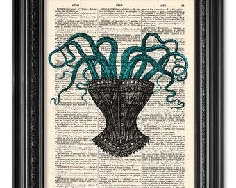 Corset with octopus, dictionary art print, Original artwork, Octopus print, Home Wall Art, Wall decor, Funny gift poster [ART 051]