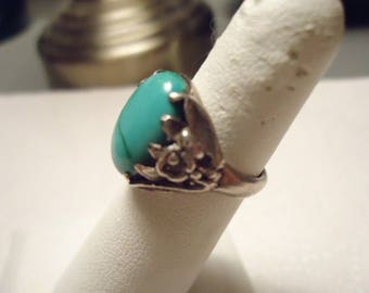 1940's Native Pawn Turquoise Sterling Ring Pinky Finger Size