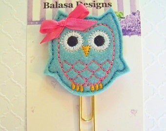 Turquoise Owl Planner Clip, Bookmark, Planner Accessory, Paper Clip