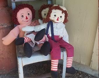 Vintage Raggedy Ann and Andy dolls, 3 vintage rag dolls, Raggedy Anne cloth doll, Raggedy Andy cloth doll, vintage baby dolls