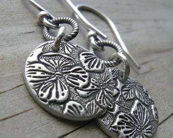 Sterling Silver Hydrangea Coin Earrings PMC artisan jewelry