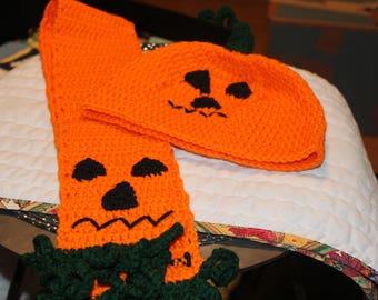Pumpkin Hat and Scarf - crochet
