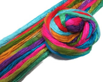 Mulberry Silk roving palette Kit Hand dyed , color: Mix KS-1
