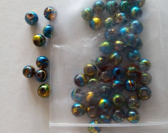 """Set of 50 glass beads beautifully colored """"light brown and blue/gold"""""""