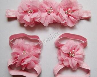Barefoot Sandals- Headband Set- Barefoot Sandal Headband Set- Chiffon Flower Baby Headbands