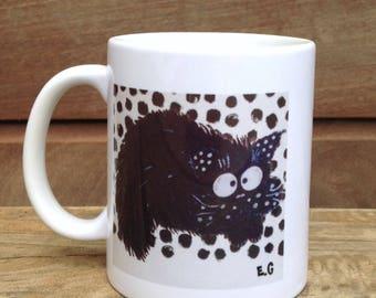Hilarious wacky cat with lemur mug