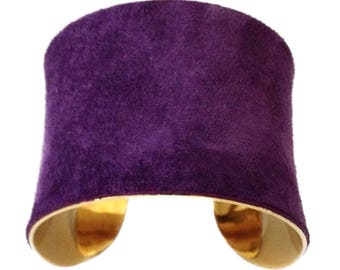 Suede Cuff Bracelet in Purple - by UNEARTHED