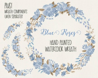 Watercolor floral wreath: hand painted blue roses; wedding clip art; watercolor clip art - digital download
