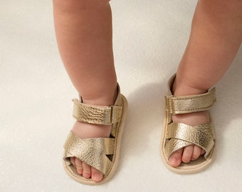 Golden Baby Leather Sandals, Baby Sandals, leather sandales, baby leather sandales