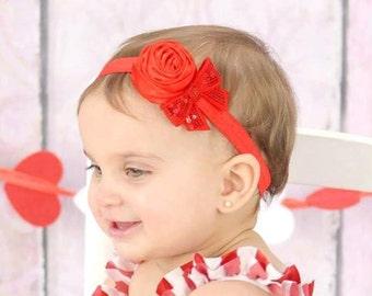 Red Flower Headband, Red Headband, Flower Girl Headband, Baby Girl Headband, Newborn Photo Prop Headband, Red Bow Headband, Wedding Headband