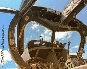 War Plane Cockpit - War Photography - Vintage Military Images - 8x10 - Bullet Holes - Airplane