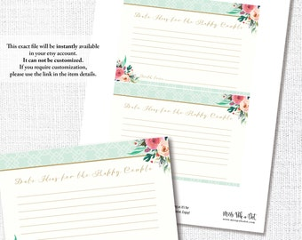 DATE NIGHT IDEAS card coordinates with watercolor Wear A Hat bridal wedding shower luncheon tea instant digital download diy printable file