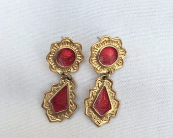Beautiful Drop Earrings, Abstract, Red and Gold, Retro Jewelry, Shimmer, feminine, vintage, made in USA