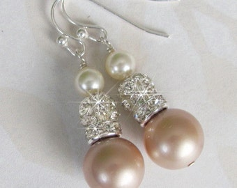Champagne Bridesmaid Earrings, Bridesmaid Jewelry, Mother of the Bride or Groom, Pearl and Rhinestone Wedding Jewelry,  Bridesmaid Jewelry