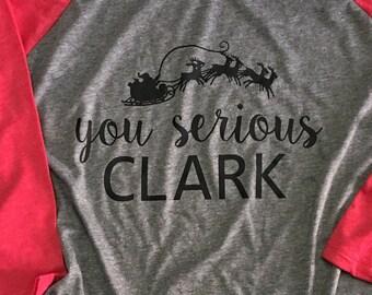 You serious Clark baseball style raglan tee shirt t-shirt