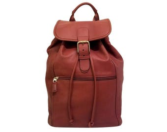 HUGE! Coach Vintage Backpack Drawstring British Tan Brown Leather Bag