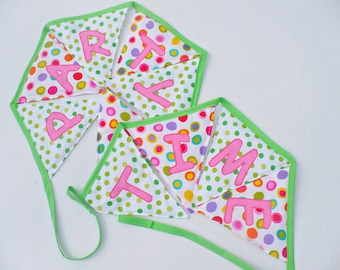 Fabric girl's happy birthday banner, Polka dot green and hot pink bunting party time banner, Girl's birthday party decoration