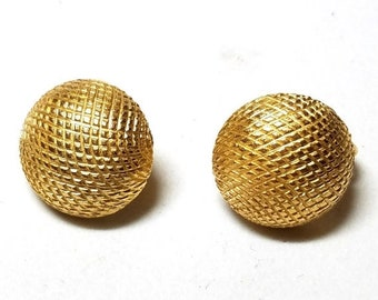 30% Off Sale Crown Trifari Gold Tone Button Textured Vintage Clip On Earrings