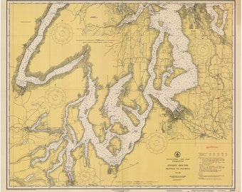 Puget Sound Map - Seattle to Olympia 1938