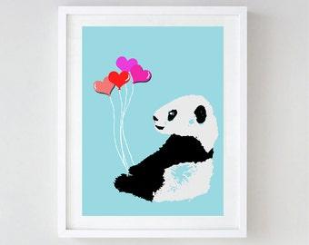 Baby Panda Art  -  Kids Art Prints, family, love, decor, nursery art print, bear family, bear hug