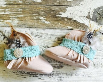 Baby fringe boots and lace boot bracelts/bands your color choice