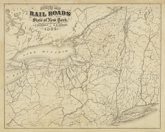 1877 Railroad Map of New York State print reproduction