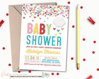 Baby Shower Invitation, Rainbow Baby Shower Invitation, Hearts, Baby Shower, Rainbow Baby Shower, Clouds, Hearts, Baby Shower